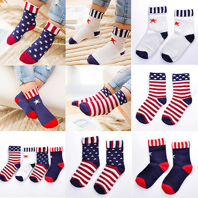 Baby Kids Girls Toddler American Flag Socks Stars & Stripes Cotton Casual Socks