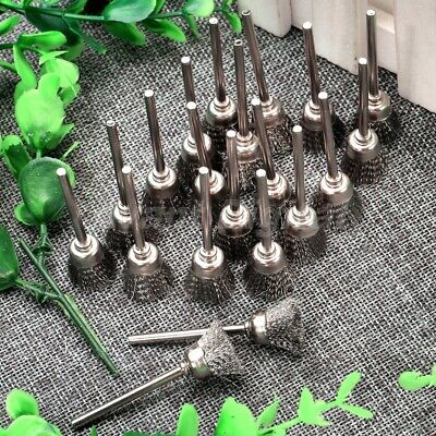 20PC Silver Color Steel Wire Cup Wheel Brushes Mandrel Grinder Rotary Tool Set