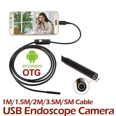 1M 7MM IP67 Android Endoscope Inspection USB Borescope LED Snake Video Camera