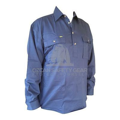 Bisley Work Shirt Mens 100% Cotton Drill Closed Front Long Sleeve Half BSC6433