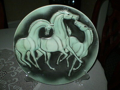 Vintage Mid Century West German Horse Plate W/Stand by Cortendorf Pottery