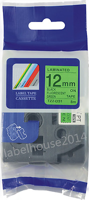 Compatible Brother TZ TZe-D31 label maker tape Black on Flou Green 12mm Ptouch