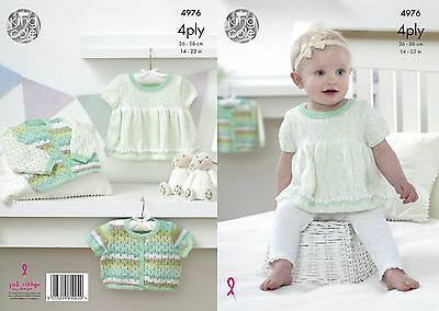 KINGCOLE 4976 baby 4ply Knitting Pattern -sizes 14-22in Not the finished items