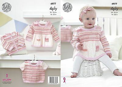 KINGCOLE 4977 baby 4ply Knitting Pattern -sizes 14-22in Not the finished items