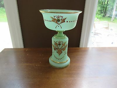 ANTIQUE 19TH CENTURY BRISTOL GREEN GLASS VASE / CANDY DISH Must See Unique