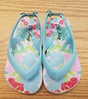 Old Navy Size 5 Infant/Toddler Floral Flip Flops Sandals Shoes Slingback Girl
