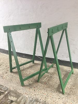 Tall Vintage Green French Trestles With Hooks , Coat Rack Table
