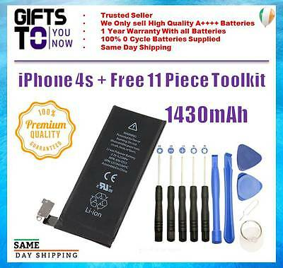 iphone 4S Replacement Battery 1430mAh Genuine 0 Cycle battery FREE 11pc TOOLKIT