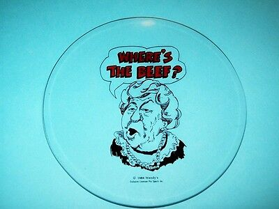 """Vintage 1984 Glass Plate with Clara Peller asking, """"Where's the Beef?"""""""
