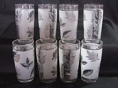 "8 Vintage Libbey Frosted Silver Foliage 6 oz Liquor Double Shot 3 7/8"" Glasses"