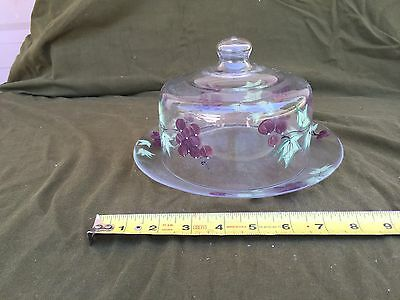 Handpainted Covered Clear Glass Cheese Butter Dish w Grape & Leaf Design