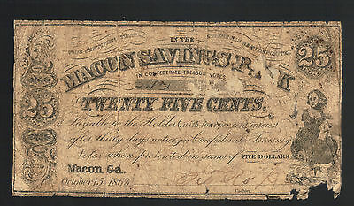 25¢ Macon Savings Bank Georgia 1863 Confederate Obsolete GA Paper Money Currency