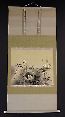 JAPANESE HANGING SCROLL ART Painting  Asian antique  #E6487