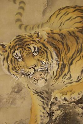 """JAPANESE HANGING SCROLL ART Painting """"Tiger"""" Asian antique  #E6478"""