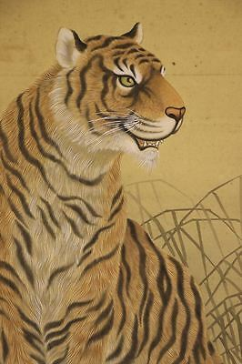 """JAPANESE HANGING SCROLL ART Painting """"Tiger"""" Asian antique  #E6484"""