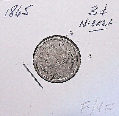 Nice...1865  3 Cent Nickel***Early Date...F To VF Or So Details***