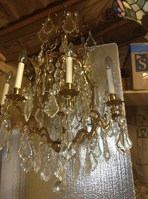 Old 8 Light Brass and Crystal Birdcage Chandelier