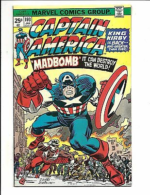 CAPTAIN AMERICA # 193 (KIRBY C/art begins, CENTS ISSUE, OCT 1975), VF-