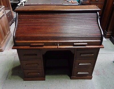 Stunningly Restored Solid Oak Roll Top Desk