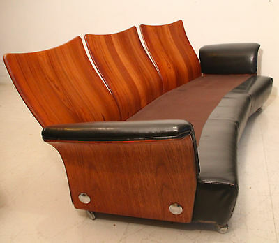Unusual rosewood & leather G-Plan sofa, 1970s, vintage retro 60s