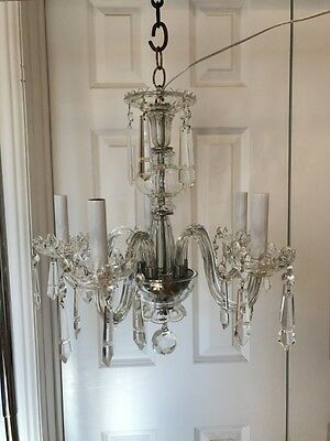 Old Exquisite Five-Light Crystal Chandelier