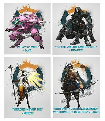 Overwatch Character quotes Poster Print A4,A3,A2,A1 Reaper D.va Hanzo Doomfist