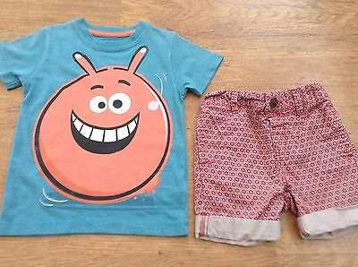 100% Next Boys Small Summer Bundle / Outfit 18-24Mths Top Shorts