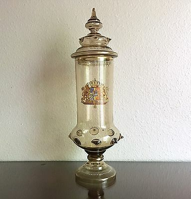 """Antique Theresienthal Glass Lidded Beaker Sweden Norway Union Coat of Arms 17"""""""