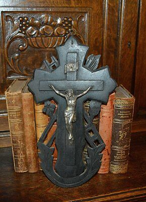 Antique German Black Forest Carved Wood Cross Crucifix