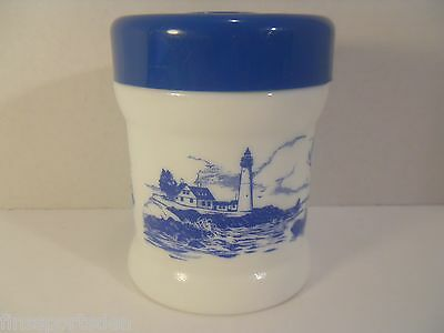 Vintage Milk Glass Tobacco Humidor ~ Blue Canister Lighthouse Fishing Village