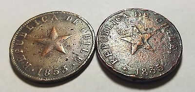 Lot of 2 Chile 1 One Un Centavo 1835 1853