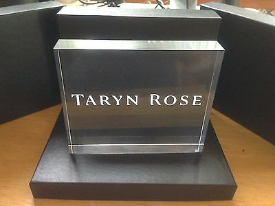 TARYN ROSE Store Display Acrylic Block Clear With Engraving BRAND NEW