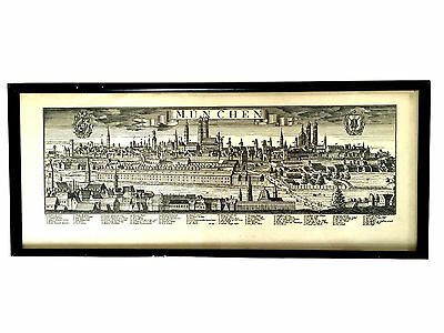GERMAN MUNCHEN Munich Old Birds Eye View City Map Engraving Bodenehr G. ca. 1740