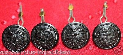 WWII US Coast Guard Black Buttons 11/16 in 18mm  29L w toggles  lot of 4 B4335