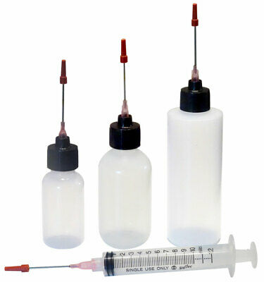 "Plastic Squeeze Bottles 1oz,2oz,4oz,10ML Syringe 1.5"" Applicators For Watch Oil"