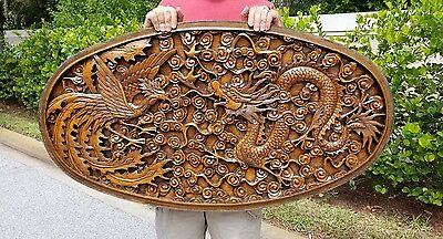 """Stunning Hand Carved Chinese Hard Wood Dragon Wall Art 44""""x24"""""""