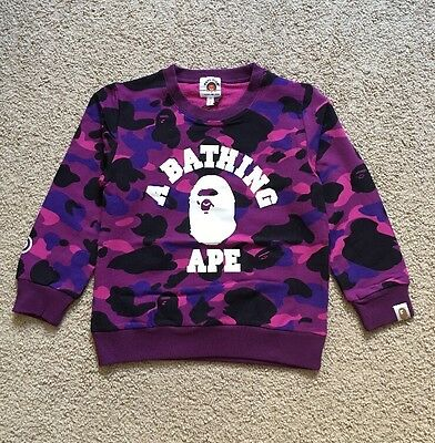 A Bathing Ape Kids Sweater Sweatshirt Purple Camo 4T