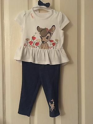 disney baby bambi outfit top trousers and headband included 6-9 months