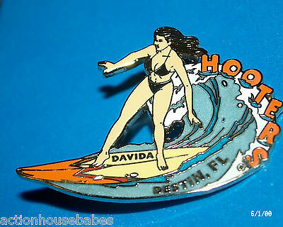 Hooters Restaurant Collectable Girl Surfboard Surfing Davida Destin Flordia  Pin