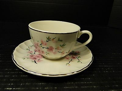 W S George Bolero Peach Blossom Tea Cup Saucer Set 22K Gold Trim NICE