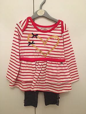 Baby Girls Red And Cream Stripe Dress & Legging Set - Size 18-24 Months *BNWT*