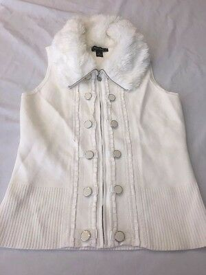 White House Black Market Ivory Full Zip Sweater Vest With Faux Fur Collar S (S)
