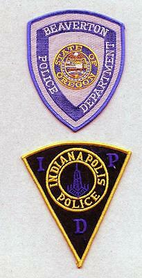 X152 Lot of 2 Police Patches, Indiana Police and Beaverton, State of Oregon