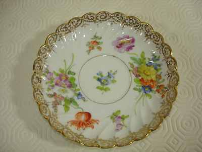 Dresden Handpainted Floral Fluted Saucer