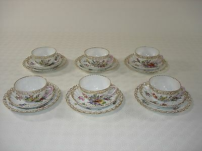 Dresden Porcelain Set of Six Tea Cups, Saucers and Tea Plates - Floral Swirl