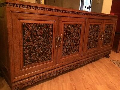 Asian Antique Furniture – TEAK CREDENZA (classical hand carving)