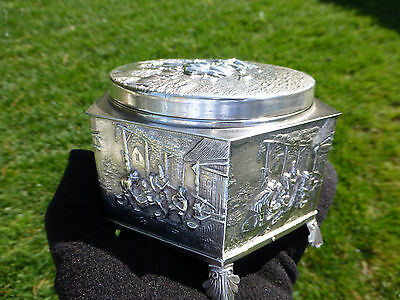 Rare Swiss Antique Thorens (Reuge) Music Box Silver Powder Case Made In Denmark