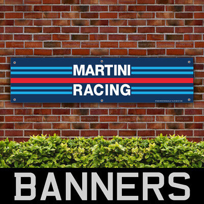 Martini Racing Stripes PVC Banner Garage Workshop Motorsport Sign (BANPN00090)