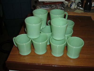 Large Lot of 14 Fire King Jadeite Restaurant Oven Ware Mugs USA