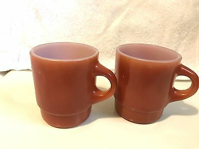 Two Fire King Ware Anchor Hocking Stacking Mugs / Cups Burnt Red